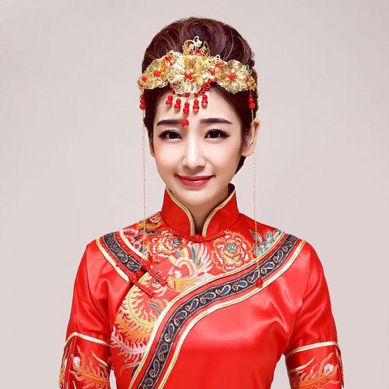 Klassisk Kinesisk Brude Headpieces / Hoved Blomst / Bryllup Hårpynt / Bryllup Smykker / Kimono Hovedklæde