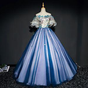 Piękne Granatowe Sukienki Na Bal 2017 Princessa Tiulowe Aplikacje Bez Pleców Frezowanie Bez Ramiączek Bal Sukienki Wizytowe