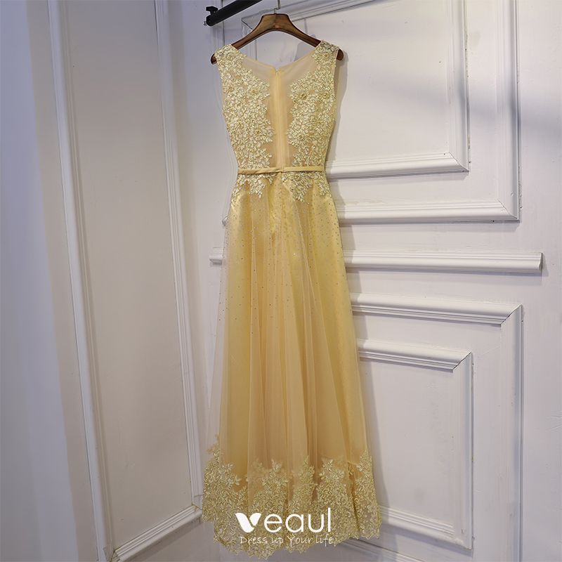 Chic / Beautiful Champagne Wedding Party Dresses Bridesmaid Dresses 2017 Lace Flower Sequins Pearl Sleeveless Scoop Neck Ankle Length A-Line / Princess