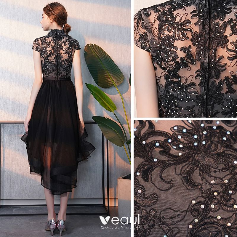 Elegant Black Cocktail Dresses 2018 A-Line / Princess Asymmetrical Rhinestone Embroidered High Neck Cap Sleeves Formal Dresses