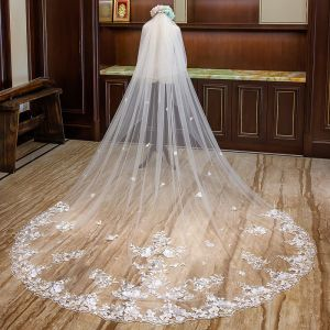Luxury / Gorgeous Champagne Wedding Veils 2020 Tulle Lace Appliques Flower Chapel Train Wedding Accessories