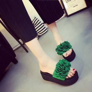 Chic / Beautiful Dark Green Casual Womens Shoes 2018 Handmade  Flower Platform Flat Slipper & Flip flops