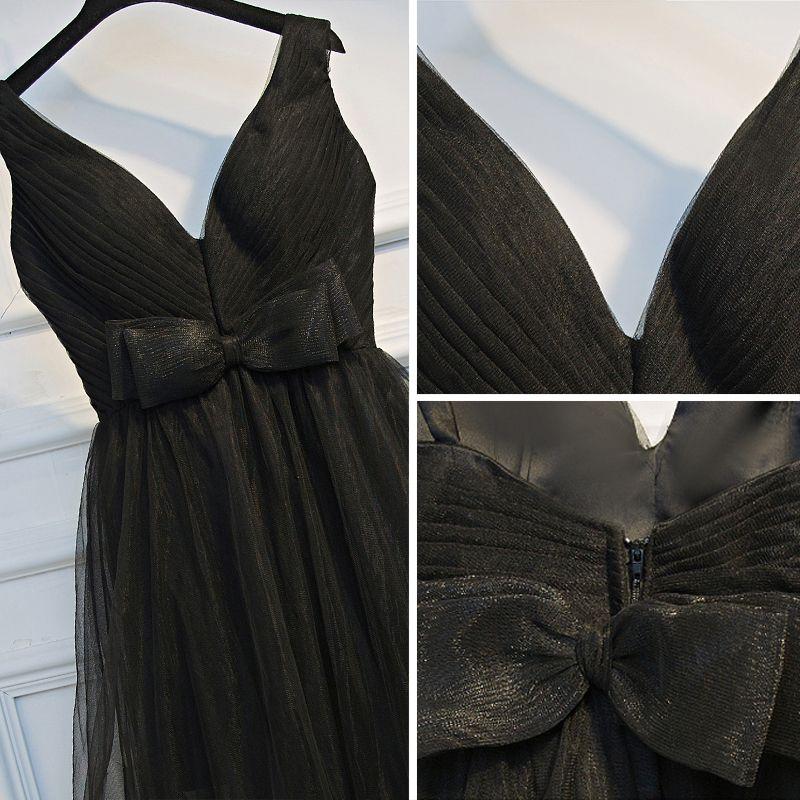 Modest / Simple Black Formal Dresses A-Line / Princess 2017 Bow Backless Zipper Up V-Neck Sleeveless Short Graduation Dresses