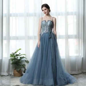 Classy Pool Blue Prom Dresses 2019 A-Line / Princess Spaghetti Straps Feather Lace Flower Appliques Pearl Sleeveless Backless Sweep Train Formal Dresses