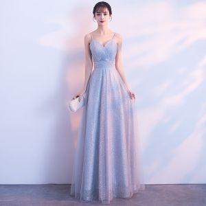 Elegant Grey Evening Dresses  2018 A-Line / Princess Glitter Tulle Spaghetti Straps Backless Sleeveless Floor-Length / Long Formal Dresses