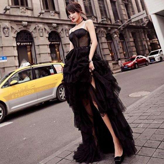 Moderne / Mode Noire Robe De Soirée 2018 Princesse Transparentes Asymétrique Bretelles Spaghetti Dos Nu Sans Manches Robe De Ceremonie