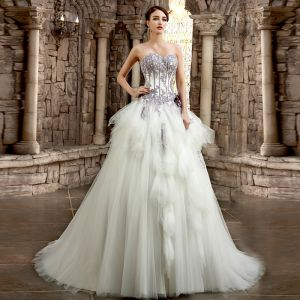 Romantic White Purple Wedding Dresses 2017 Organza Rhinestone Appliques Corset Pearl Wedding