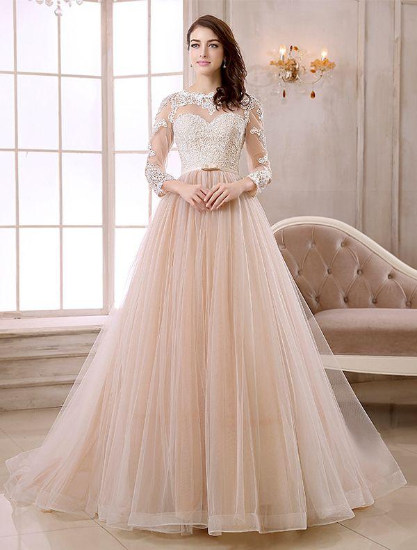 Elegant A linie Hals Spitze Durchbohrt Design 3/4 Ärmel Organza Schärpe Champagner Hochzeitskleid Brautkleider