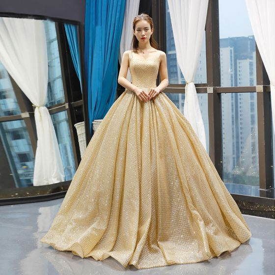 High-end Gold Dancing Prom Dresses 2020 Ball Gown Shoulders Sleeveless Glitter Tulle Floor-Length / Long Ruffle Backless Formal Dresses
