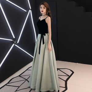 Chic / Belle Noire Robe De Soirée 2019 Princesse Bretelles Spaghetti Daim Noeud Sans Manches Dos Nu Longue Robe De Ceremonie
