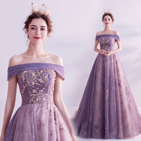 Charming Purple Prom Dresses 2020 A-Line / Princess Off-The-Shoulder Glitter Beading Pearl Rhinestone Sequins Sleeveless Backless Court Train Formal Dresses