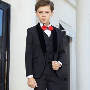 Luxe Noire Costumes De Mariage pour garçons 2019