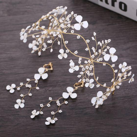 Blumenfee Gold Brautschmuck 2019 Metall Perlenstickerei Blumen Kopfschmuck Ohrringe Brautaccessoires