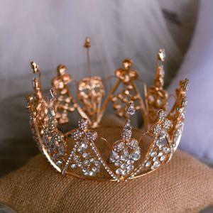 Chic / Beautiful Gold Bridal Hair Accessories 2020 Metal Rhinestone Tiara Wedding Accessories