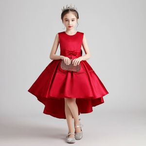 Modest / Simple Red Satin Birthday Flower Girl Dresses 2020 Ball Gown Scoop Neck Sleeveless Bow Sash Asymmetrical Ruffle