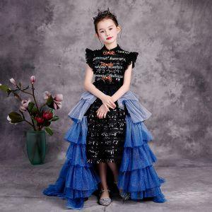 Moda Czarne Urodziny Sukienki Dla Dziewczynek 2020 Suknia Balowa Wysokiej Szyi Bez Rękawów Rhinestone Cekiny Cekinami Tiulowe odpinany Trenem Sweep Kaskadowe Falbany