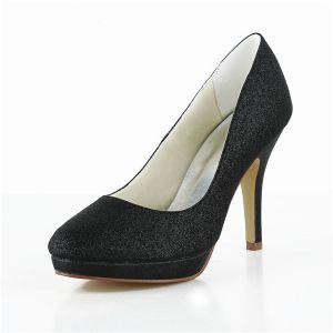 Klassischem Schwarz Parteischuhe Glitter Stilett-hohen Absätze