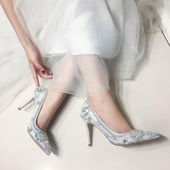 Sparkly Sølv Brudesko 2019 Lær Krystall Rhinestone 9 cm Stiletthæler Spisse Bryllup Pumps