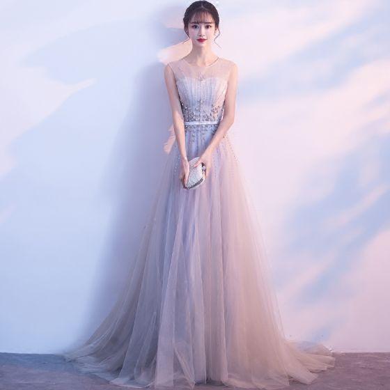 Hermoso Gris Vestidos de noche 2018 A-Line / Princess U-escote Tul Apliques Sin Espalda Rebordear Noche Vestidos Formales