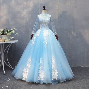 Chic / Beautiful Pool Blue Quinceañera Prom Dresses 2018 Ball Gown Lace Appliques Beading High Neck Backless Long Sleeve Floor-Length / Long Formal Dresses