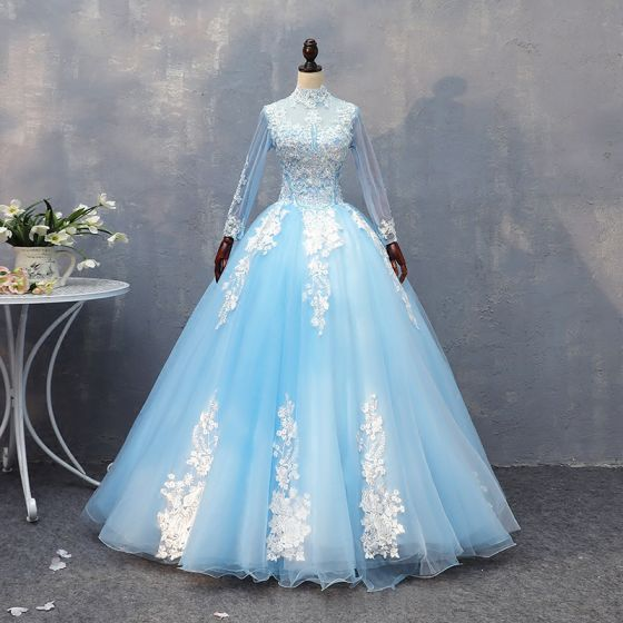cafeba8ddc4 Chic   Beautiful Pool Blue Quinceañera Prom Dresses 2018 Ball Gown Lace  Appliques Beading High Neck Backless Long Sleeve ...