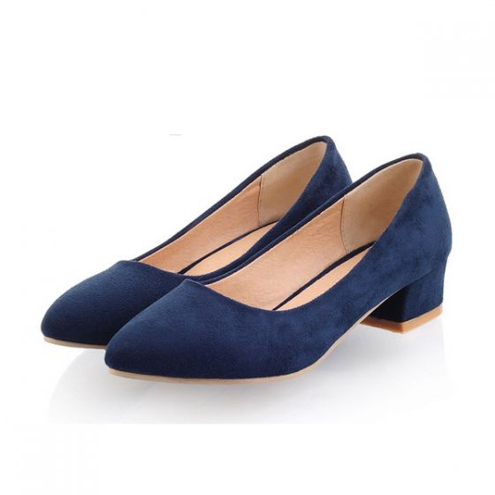 finest selection 7585a 71b9c Classic Navy Blue Pumps Kitten Heel Suede Womens Shoes