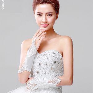 Long Lace Bow Pierced Flowers Bride Gloves