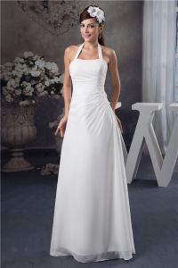 Simple Halter Sleeveless Beading Long Wedding Dress Bridal Gown