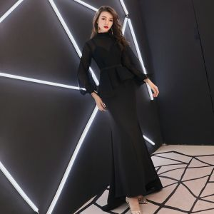 Vintage / Retro Black See-through Evening Dresses  2019 Trumpet / Mermaid High Neck Puffy Long Sleeve Sash Sweep Train Ruffle Formal Dresses