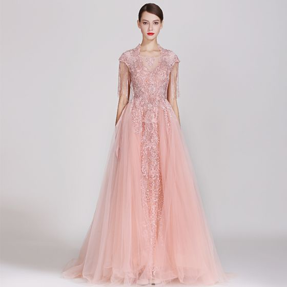 High-end Candy Pink Evening Dresses  2019 A-Line / Princess Square Neckline Handmade  Lace Flower Sequins Cap Sleeves Beading Tassel Floor-Length / Long Formal Dresses
