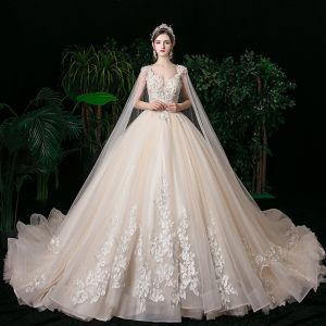 Romantic Champagne See-through Bridal Wedding Dresses 2020 Ball Gown Scoop Neck Sleeveless Backless Appliques Lace Beading Glitter Tulle Watteau Train Ruffle