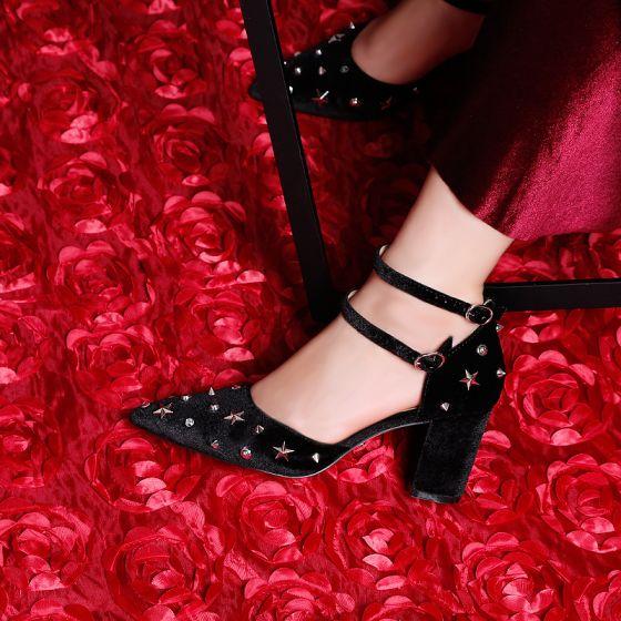 Moda Negro 7 cm High Heels 2019 Punta Estrecha Verano Fiesta Noche Cuero Rebordear Remache De Tiras Zapatos De Mujer