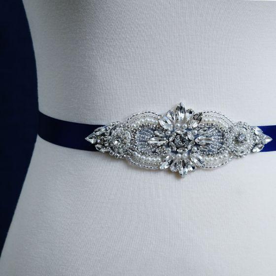 Enkel Kongeblå Galla Skærf  2020 Håndlavet Satin Metal Beading Krystal Rhinestone Bryllups Bryllup Accessories