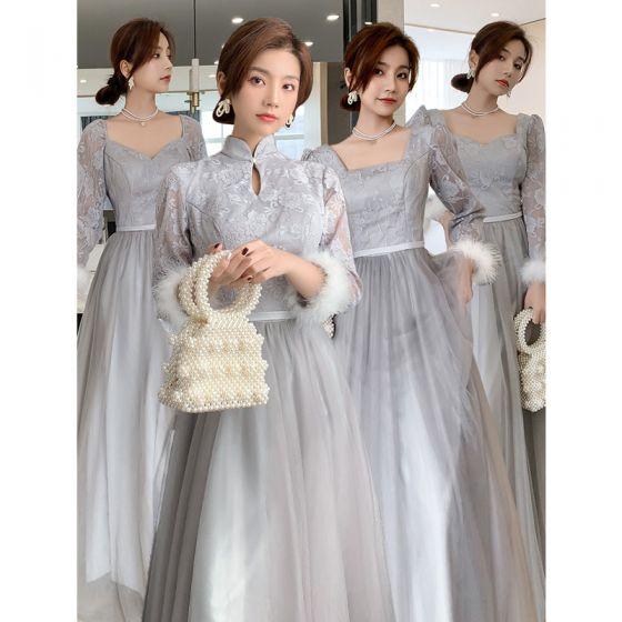 Modest / Simple Grey Bridesmaid Dresses Crossed Straps 2021 A-Line / Princess Square Neckline Lace Flower Sash 3/4 Sleeve Backless Floor-Length / Long Bridesmaid Wedding Party Dresses