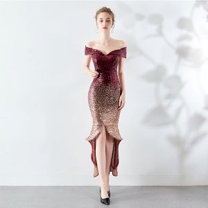 Sparkly Burgundy Evening Dresses  2019 Off-The-Shoulder Sequins Short Sleeve Backless Asymmetrical Formal Dresses