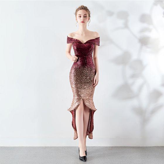Sparkly Burgundy Evening Dresses  2019 Off-The-Shoulder Sequins Short Sleeve Backless Asymmetrical Formal Dresses