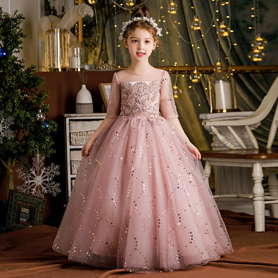 Chic / Beautiful Blushing Pink Bridal Short Flower Girl Dresses 2021 Ball Gown Scoop Neck Beading Crystal Sequins Lace Flower Short Sleeve Wedding Party Dresses