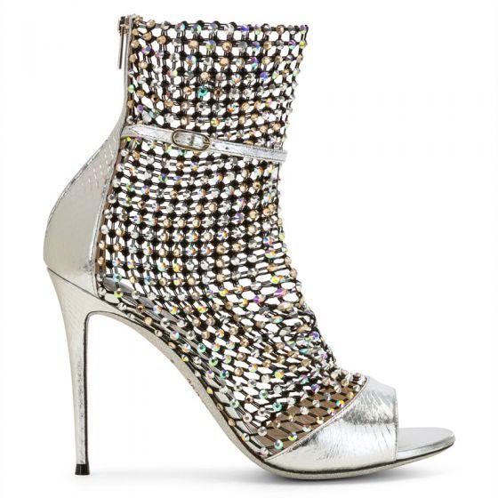 Sexy Argenté Percé Faux Diamant Cocktail Sandales Femme 2020 Cuir 9 cm Talons Aiguilles Peep Toes / Bout Ouvert Sandales