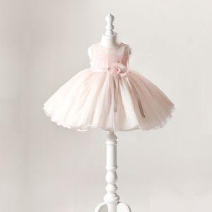 Śliczny Różowy Perłowy Sukienki Dla Dziewczynek 2020 Suknia Balowa Przezroczyste Wycięciem Bez Rękawów Kwiat Szarfa Krótkie Wzburzyć Sukienki Na Wesele