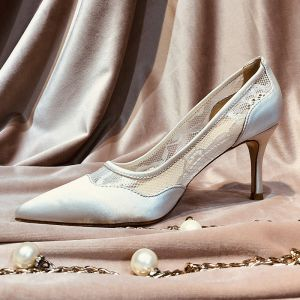 Chic / Beautiful Ivory Wedding Shoes 2019 Lace 5 cm Stiletto Heels Pointed Toe Wedding Pumps