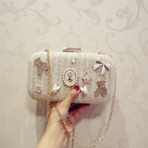 Chic / Beautiful Champagne Beading Pearl Braid Metal Clutch Bags 2018