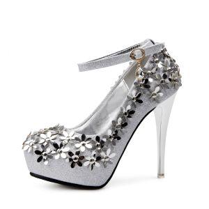 Sparkly Silver Wedding Shoes 2018 Flower Rhinestone Round Toe High Heels