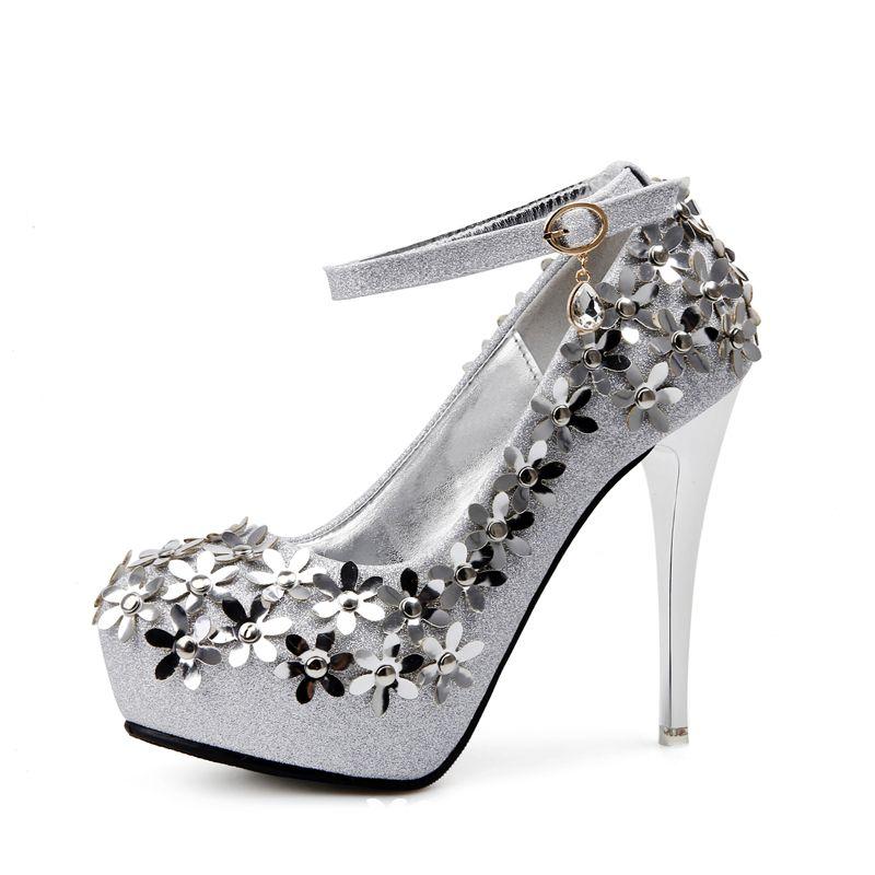 83eae2f2c53 Sparkly Silver Wedding Shoes 2018 Flower Rhinestone Round Toe High Heels