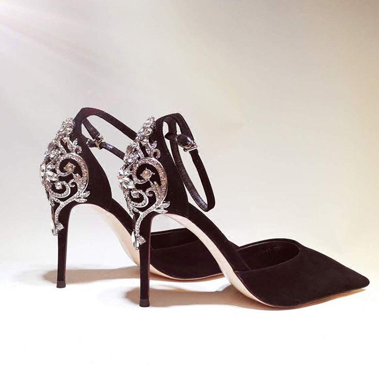 Luxury / Gorgeous 2017 8 cm / 3 inch Black Evening Party Leather Summer Rhinestone Suede High Heels Stiletto Heels Pumps
