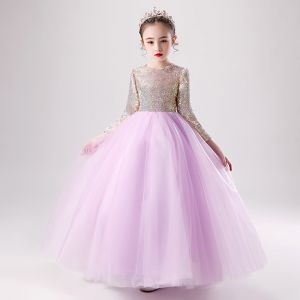 Chic / Beautiful Lilac Birthday Flower Girl Dresses 2020 Ball Gown Scoop Neck 3/4 Sleeve Gold Sequins Floor-Length / Long Ruffle
