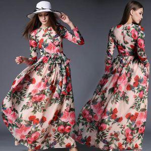 Modern Parel Roze Chiffon Zomer Maxi-jurken 2018 Vierkante Halslijn Lange Mouwen Gordel Het Drukken Bloem Enkellange Ruche Dameskleding