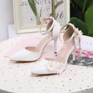 Chic / Beautiful White Prom Womens Shoes 2020 Pearl Lace Flower Ankle Strap 9 cm Stiletto Heels Pointed Toe Heels