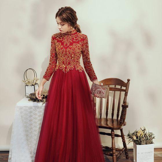 Elegant Burgundy Prom Dresses 2020 A-Line / Princess High Neck Beading Rhinestone Sequins 3/4 Sleeve Backless Floor-Length / Long Formal Dresses