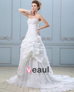 Elegant Applique Rüsche-schatz Taft Spitze Ballkleid Brautkleid