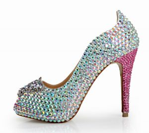 Fashion Multi-Colors Evening Party Womens Shoes 2020 Leather Rhinestone Butterfly 12 cm Stiletto Heels Open / Peep Toe High Heels